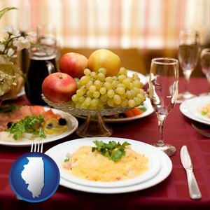 a gourmet restaurant table setting, with entree and appetizer - with Illinois icon